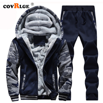 Covrlge 2019 Brand Tracksuit Men Thermal Men Sportswear Sets Fleece Thick Hoodie+Pants Sporting Suit Casual Sweatshirts MSX008 men tracksuit cotton gyms suit sportswear two piece outfits fleece thick hoodie trousers jackets