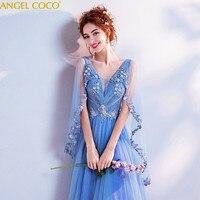 Романтический синий беременная женщина вечернее платье для беременных Костюмы V шеи аппликация бисером и блестками для беременных Вечерни