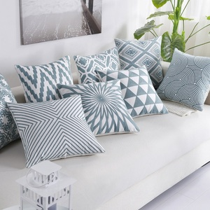 Высококачественная синяя наволочка для подушки с геометрической вышивкой, хлопковая декоративная наволочка для подушки, постельное белье ...