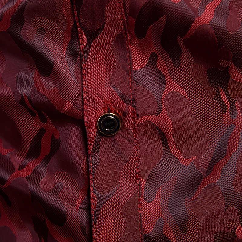 Lila Camouflage Shirt Männer 2018 Marke Neue Glatte Seide Baumwolle Herren Hemden Casual Slim Fit Langarm Chemise Homme camisa