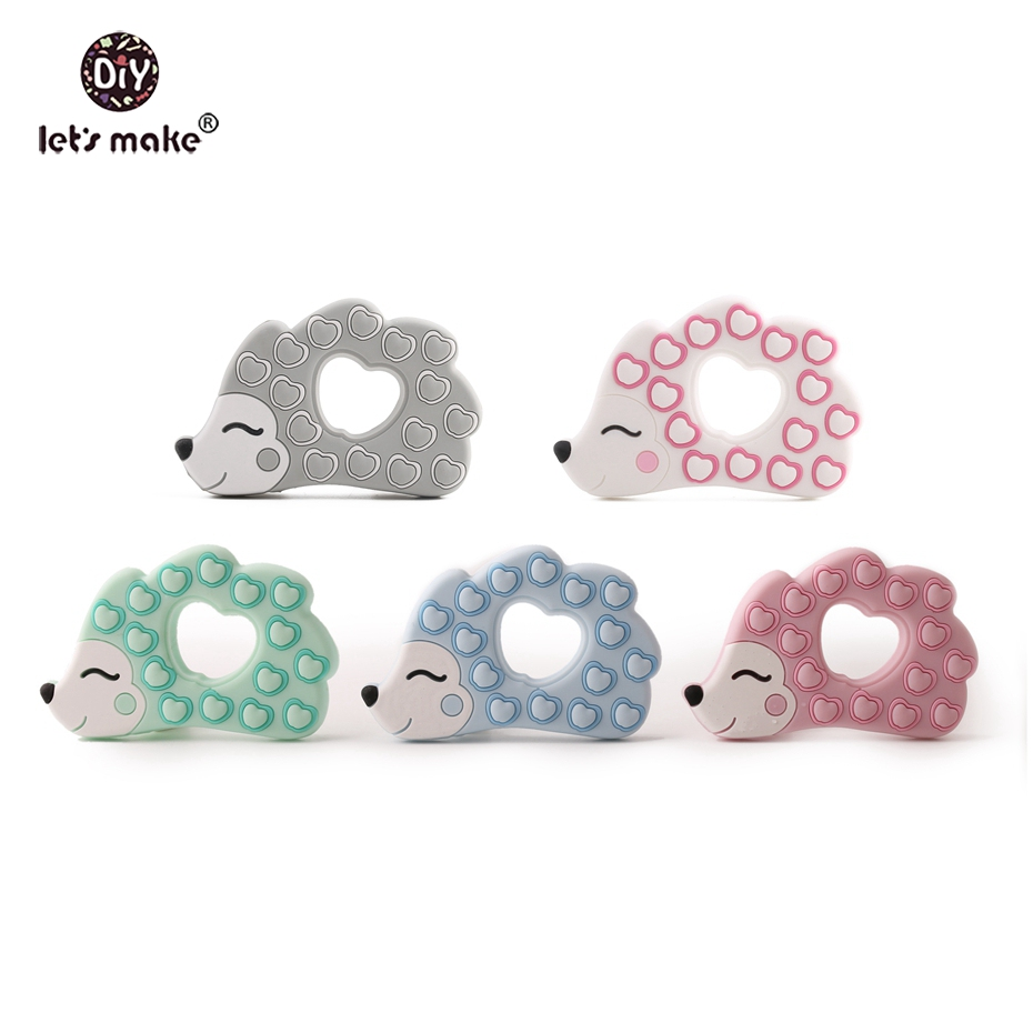 Let s Make Silicone Hedgehog Shaped Teether 50pc Food Grade Silicone Teething Organic Teether Silicone Animals