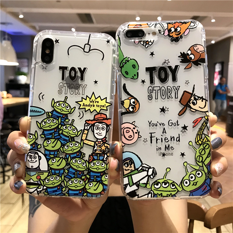 Cute <font><b>Toy</b></font> <font><b>Story</b></font> cartoon woody Buzz Lightyear phone Case For <font><b>iPhone</b></font> X XS Max <font><b>Xr</b></font> 11 pro 8 7 6 s Plus Alien Clear Soft Cover <font><b>Coque</b></font> image