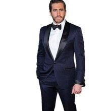 (Jacket+Pant+Tie) Leisure men Suits Slim Fit Navy Blue Tuxedo Business Suits Bridegroom Wedding Suits two-piece
