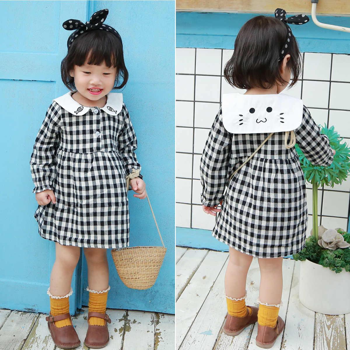0f021d3c9c4 Girls Dress Autumn Winter 2018 Brand Girls Clothes Baby Girls Peter Pan  Collar Plaid Dress Kids