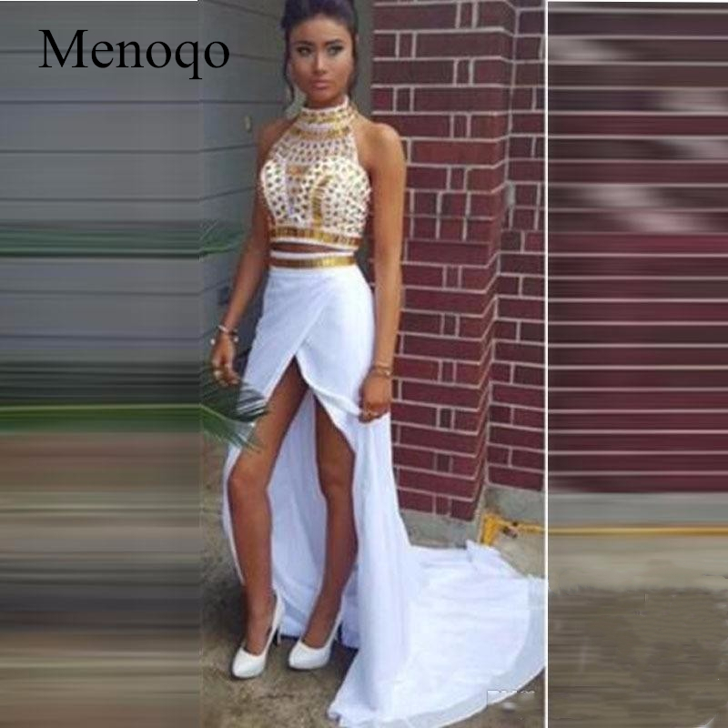 Real Sample Mermaid Middle Slit White and Gold Crystal vestidos de gala galajurken Party   Dresses   Two Piece   Prom     Dresses