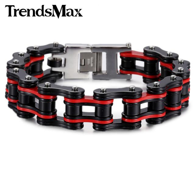 Trendsmax Multi Colors Biker Motorcycle Link 316L Stainless Steel Bracelet Wholesale Boys Mens Chain Sport Jewelry HBM56