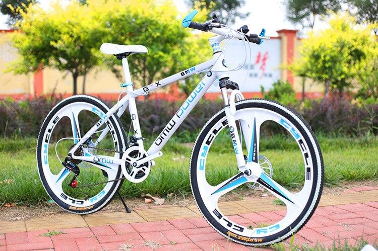 VTT 26 pouces en acier 24 vitesses en acier à haute teneur en carbone double freins à disque vélo de route variable vélo de sport