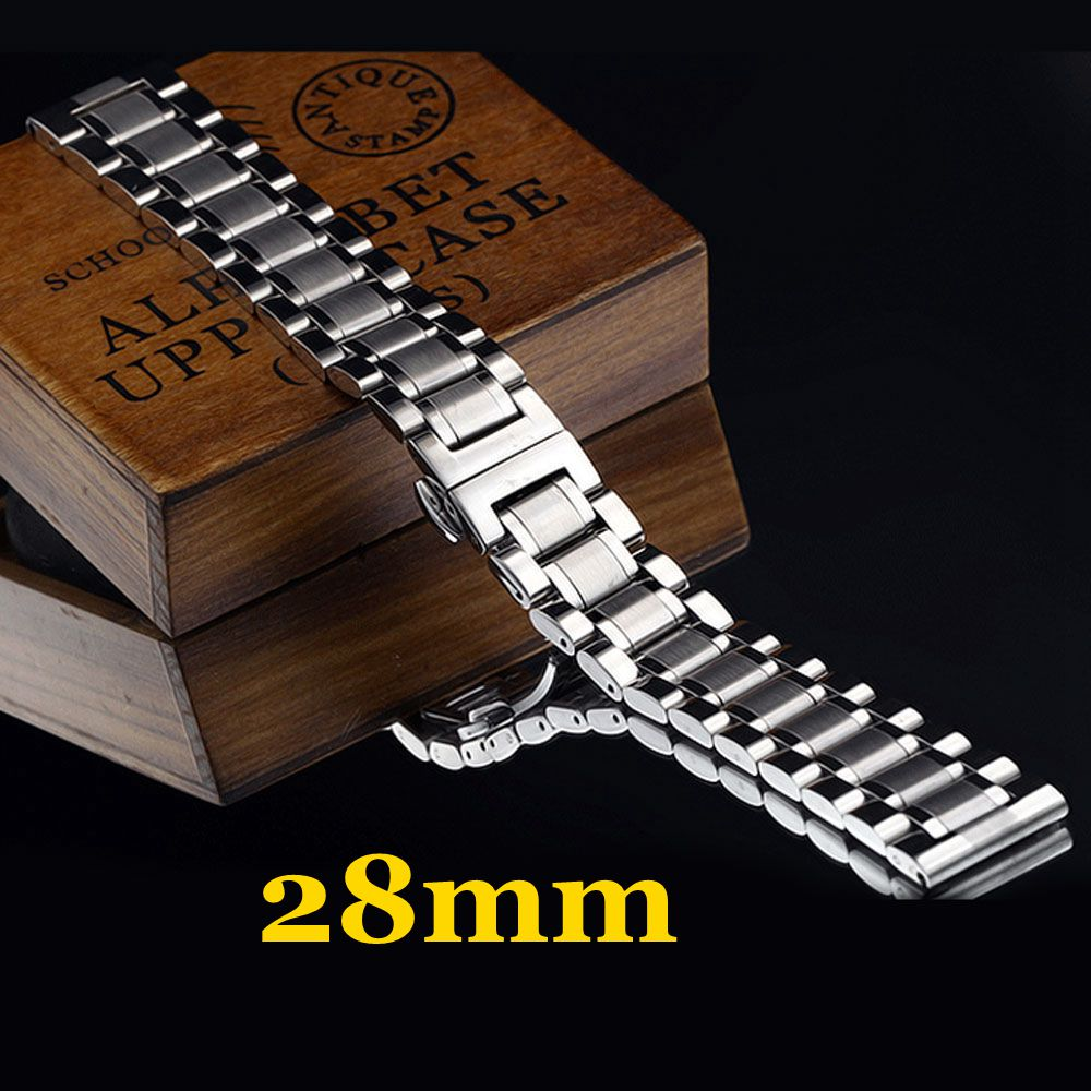2016 New High Quality 28mm Silver Stainless Steel Men Watch Strap Band With 2 Spring Bars For Watchesde Shipping 22mm silver replacement folding clasp with safety shark mesh men watch band strap stainless steel 2 spring bars high quality