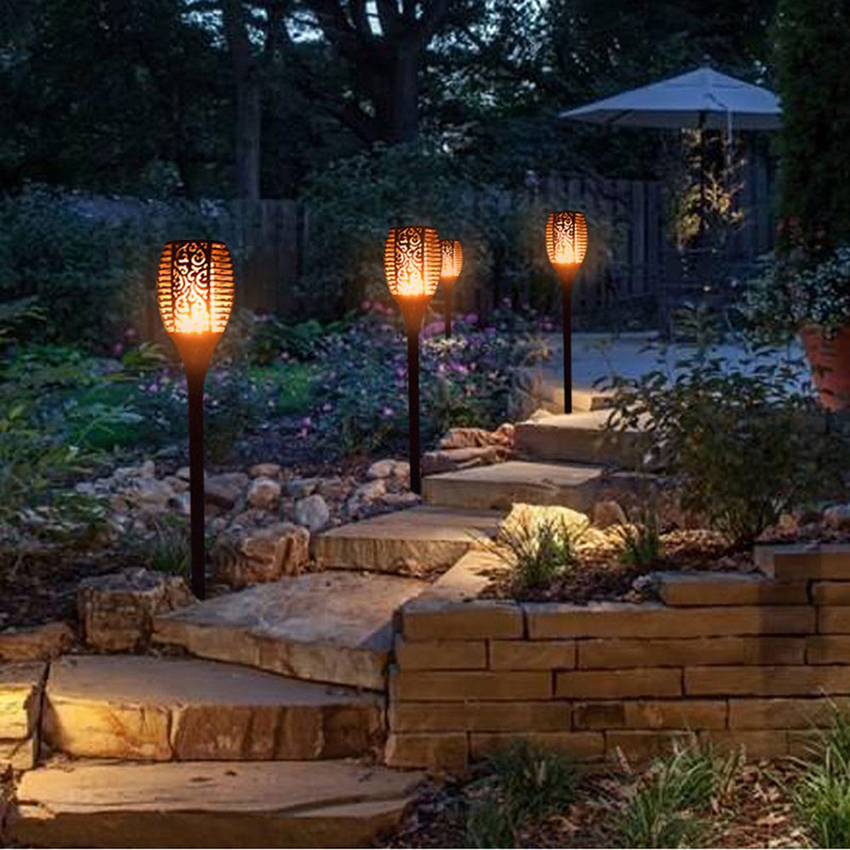 96 LEDs Cintilação da Chama Solar Jardim