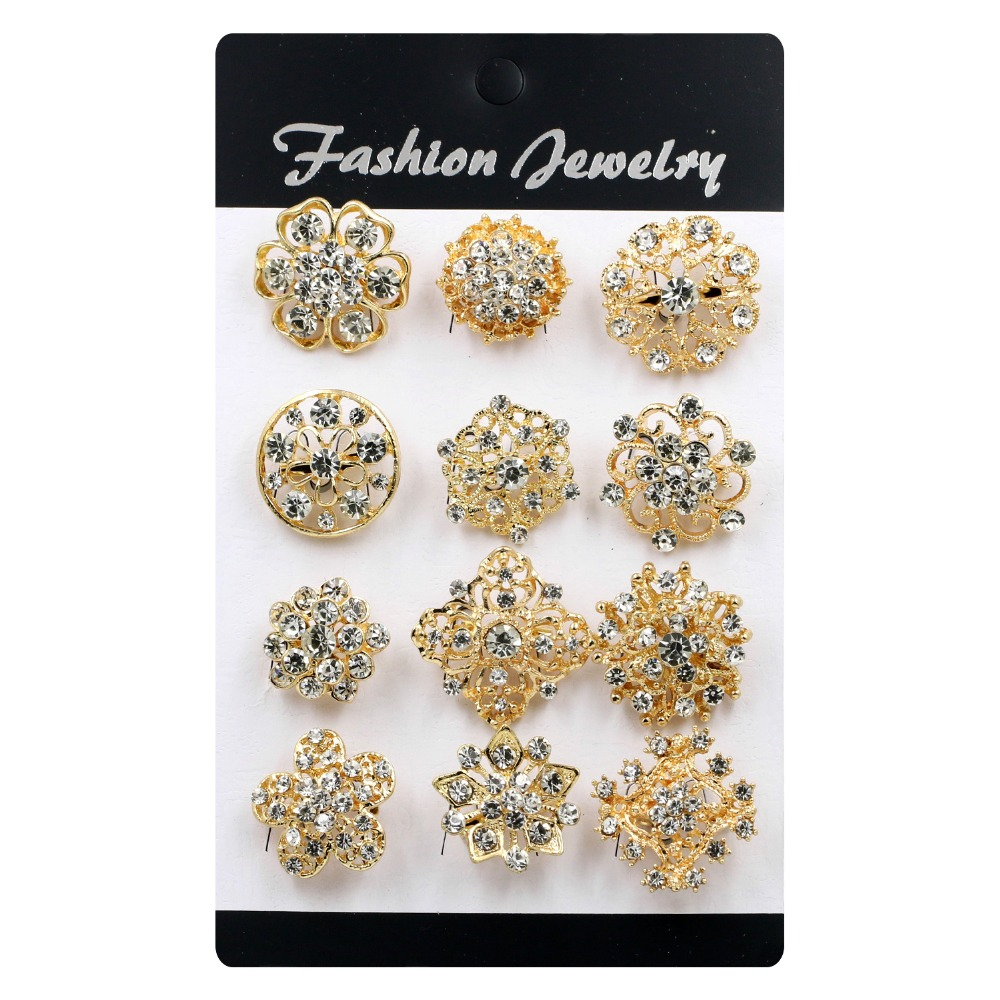 12 Pieces Mixed Clear Crystal Diamante Flower Shape Small Brooch Pins for Women colmar повседневные брюки