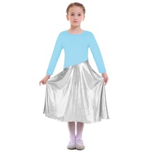 2019 Girls Praise Dress Kids Metallic Shiny Church Liturgical Dance Wear Worship Costume Children Ballet