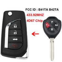 3 + 1/4 ボタンアップグレード折りたたみフリップリモートキー 433.92 mhz 4D67 チップ FCC ID: b41TA B42TA トヨタカムリカローラハイラックス 2005-2008