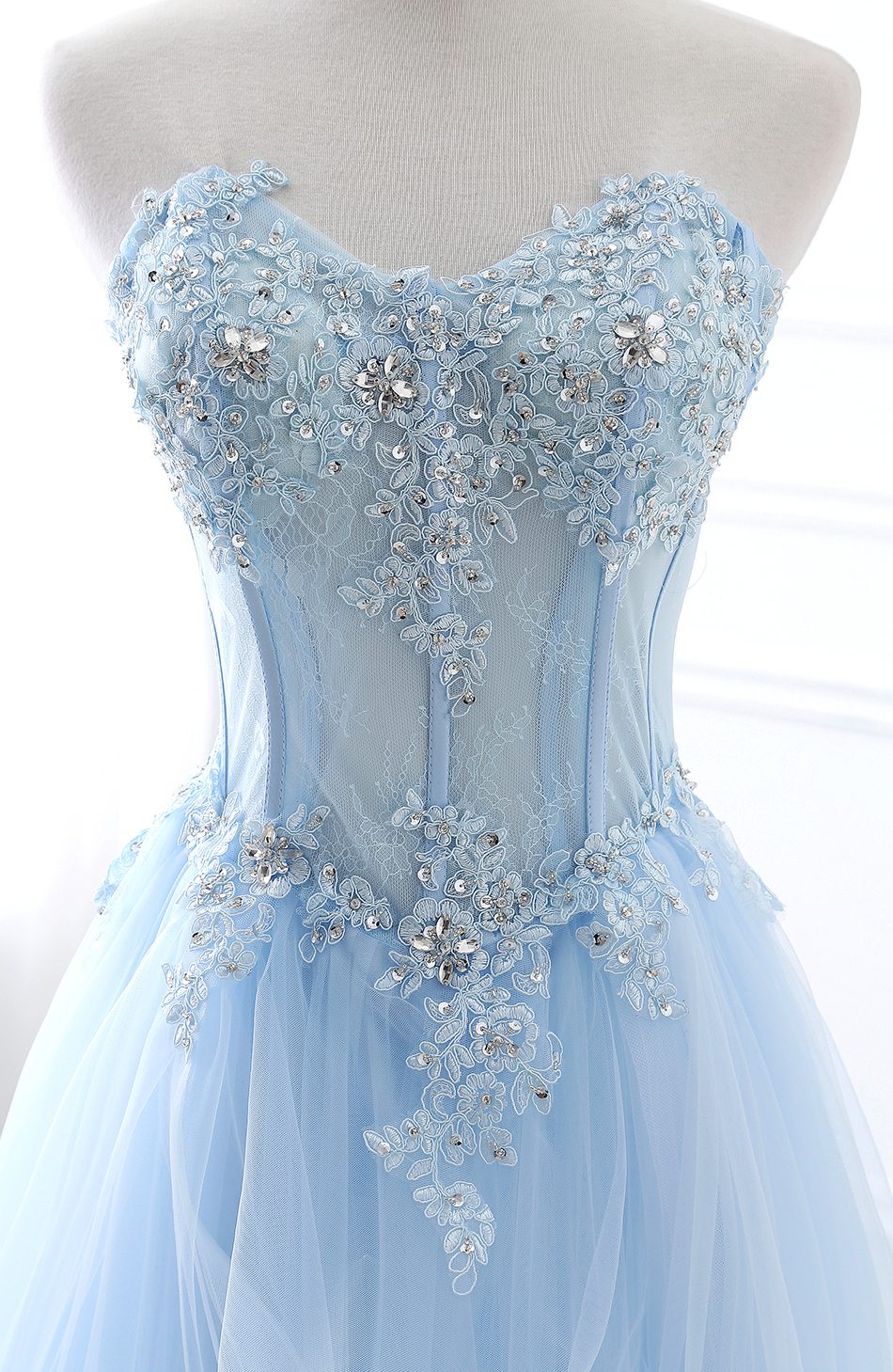 Light Blue Tulle Lace Appliqued Long Prom Dress