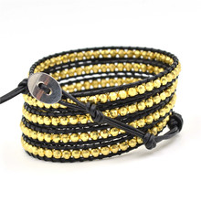 Fashion 5 handmade mutilayer Bracelets on genuine Leather Bracelets With 4mm gold nuggets beads bracelets Jewelry for men