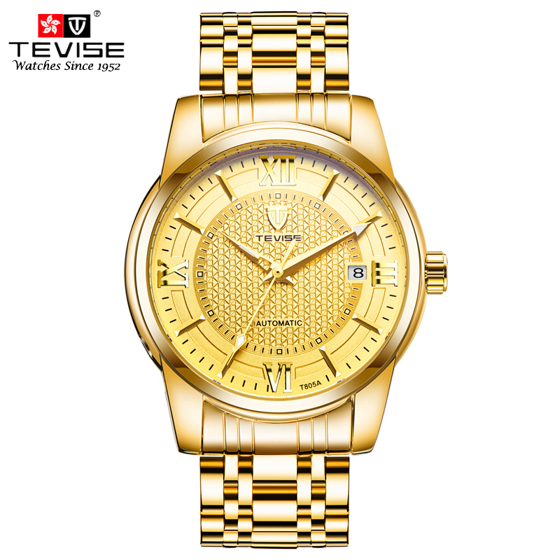 TEVISE Luxury Mens Watches Auto Date Automatic Mechanical Self Wind Watch Man Gold Stainless Steel Skeleton Wristwatches T805A все цены