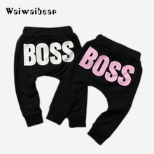 Waiwaibear Baby Boys Girls Pants Fashion Letter BOSS Cotton Harem For Casual Trousers Boy Girl Clothes