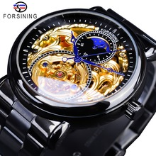 Forsining كلاسيكي أسود ذهبي ساعة وعاء من الستانليس ستيل الأسود موضة الأيدي الزرقاء تصميم الرجال ساعات أوتوماتيكية Horloges Mannen