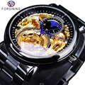 Reloj dorado negro clásico Forsining negro Acero inoxidable moda azul manos diseño relojes automáticos para hombre