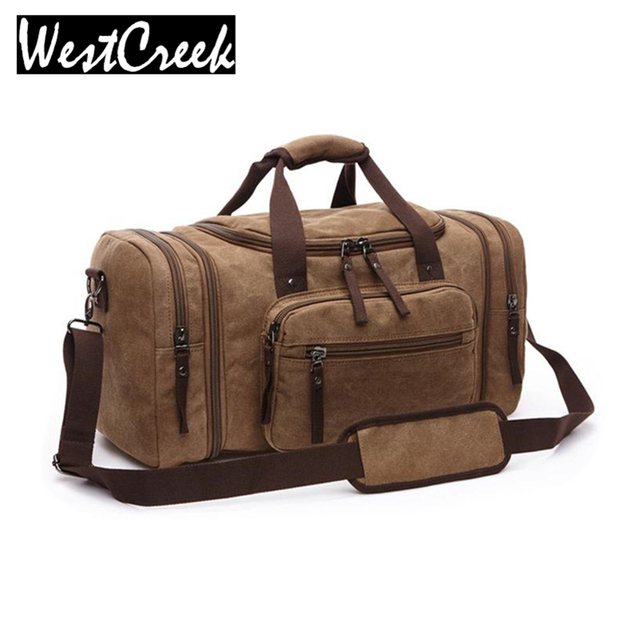 New Vintage Male Canvas Long Journey Traveling Luggage Bag Solid Double Zipper Large Capacity Scalable Travel Duffle Bags