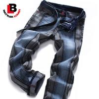 BATTLERLOVER Motore Jeans Uomo Jeans Biker Mans Cotone di Autunno Pantaloni Mens Hip Hop Jeans Uomo Casual Pantaloni Slim Fit Plus formato