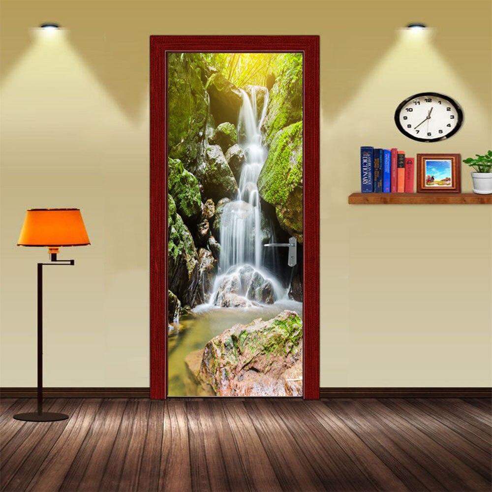 Verlegen Berg Wasserfall Tür Aufkleber Selbst Klebe Pvc Home Decor Tür Wandbild Holz Stahl Tür Diy Renovierung Aufkleber Landschaft Tapeten Selbstbewusst Unsicher Gehemmt Befangen