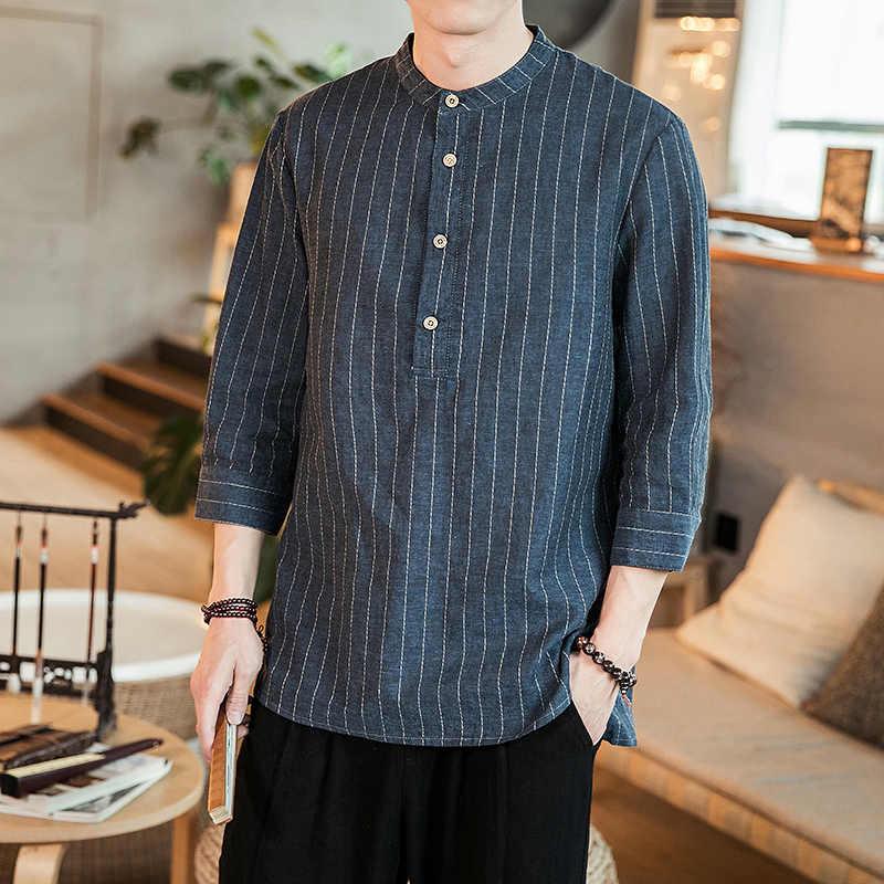 男性の夏のカジュアルプルオーバーシャツ男性中国スタイルのファッションストライプシャツサイズ M-5XL