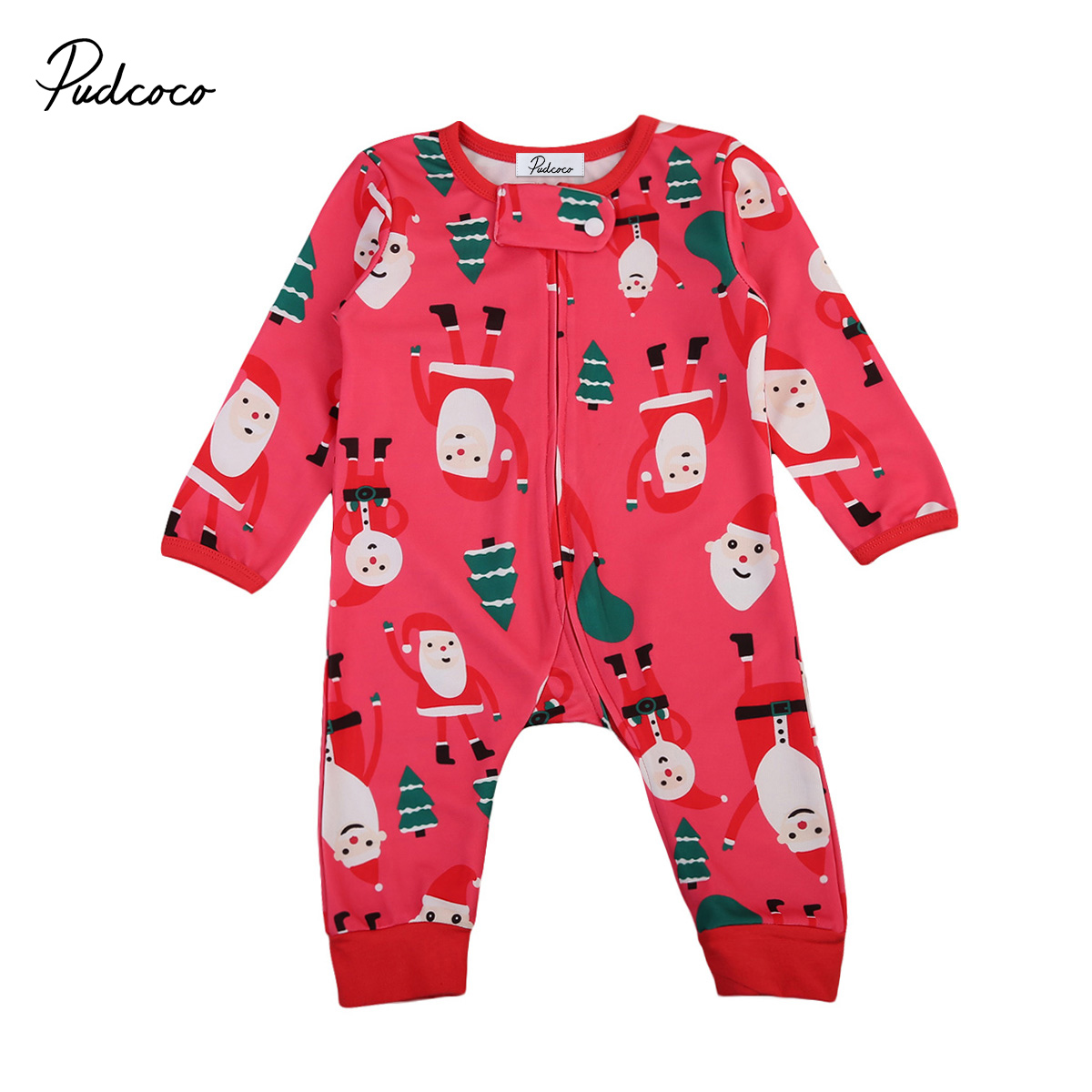 Pudcoco Christmas Clothing Infant Baby Boys Girls Clothes Long Sleeve Romper Jumpsuit Autumn Baby Clothes 100% cotton baby boys girls long sleeve romper stripe panda jumpsuit clothes newborn infant baby clothing christmas gift