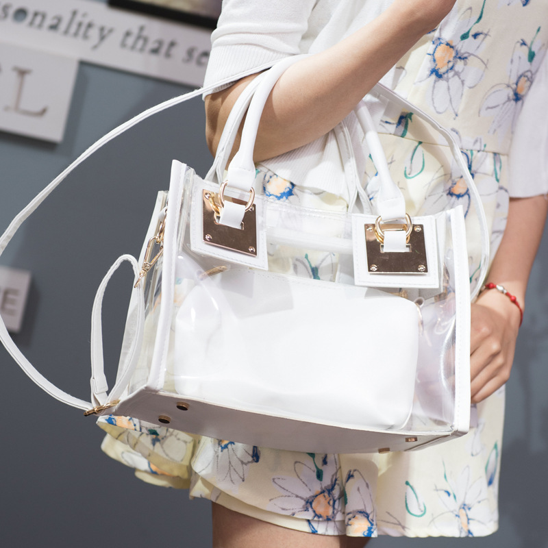 2017 Fashion New PVC Women Handbag Transparent Beach Female Shoulder Bags Casual Crossbody Bags for Ladies Hot Sale 2 set