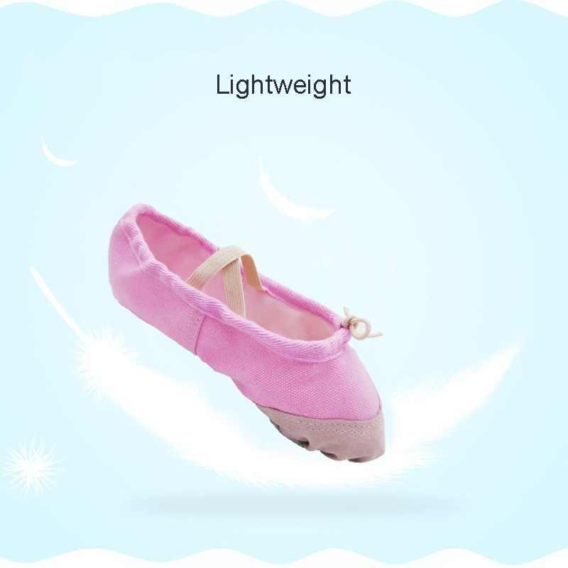Un par de hombres y mujeres adultos niños suave lona suave Fondo elástico Yoga danza zapatos adultos Ballet baile zapatos zapatillas pdi
