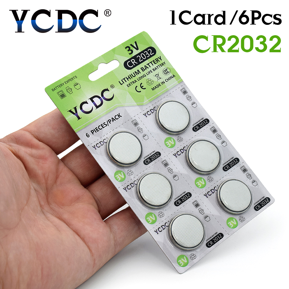 YCDC CR2032 Coin Cell Battery DL2032 ECR2032 BR2032 Lithium Button Batteries CR 2032 3V For Watch Electronic Remote 6pcs/1pack