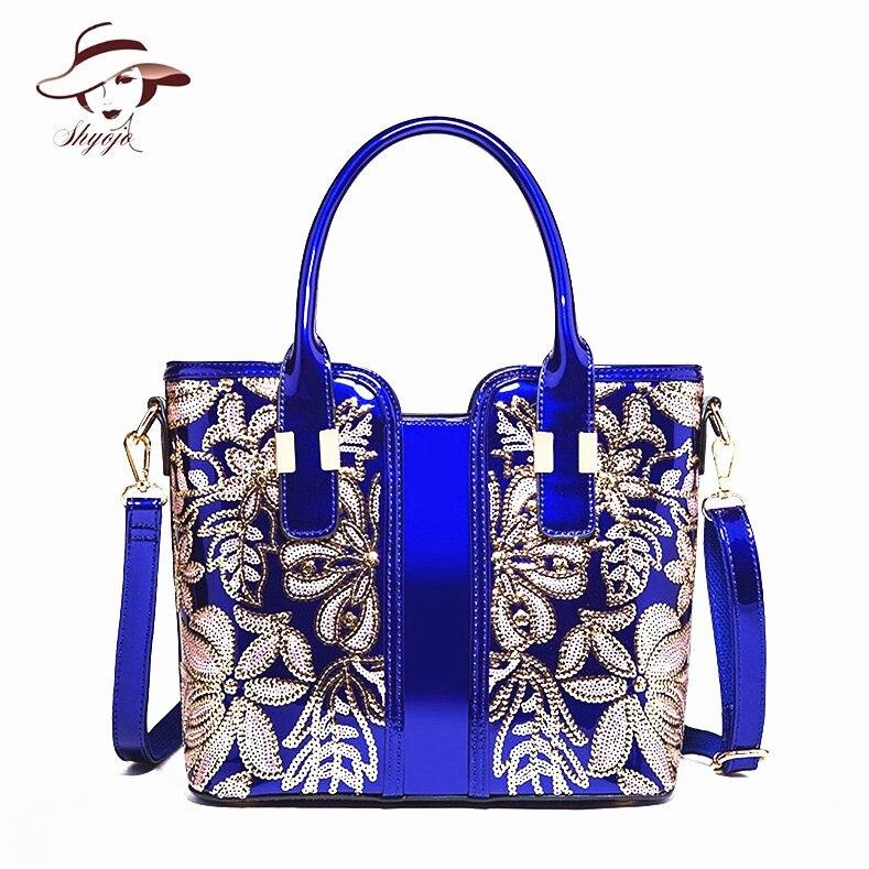 Luxury Fashion High Quality Appliques Flower Women Messenger Bag Patent Leather Wedding Party Girls Shoulder <font><b>Handbag</b></font> Lady Tote