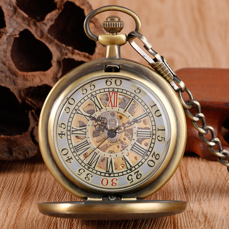 Bronze Mechanical Watch Hand Wind Pocket Board Plank Pattern Retro Vintage Antique Style Wind Up Pendant Fob Chain For Men Women