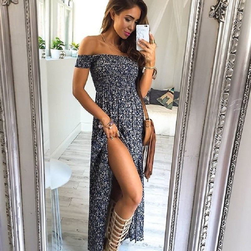 2018 Europe and the United States summer new sexy wrapped chest word floral dress  split dress