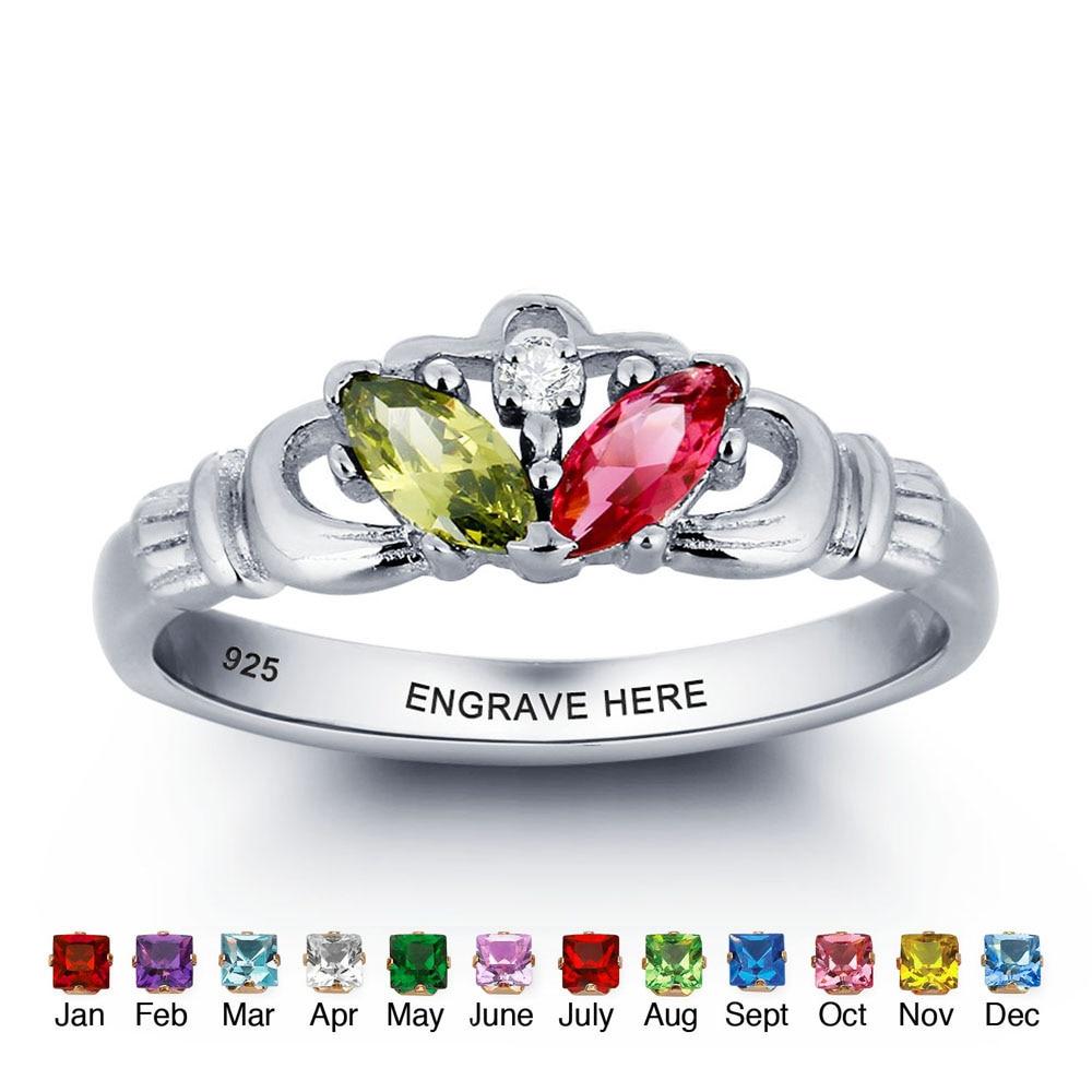 925 Sterling Silber Name Gravieren Ring Bunte Birthstone Ringe Für Mütter Personalisierte Geschenk Schmuck Mit Freier Box (RI101780)