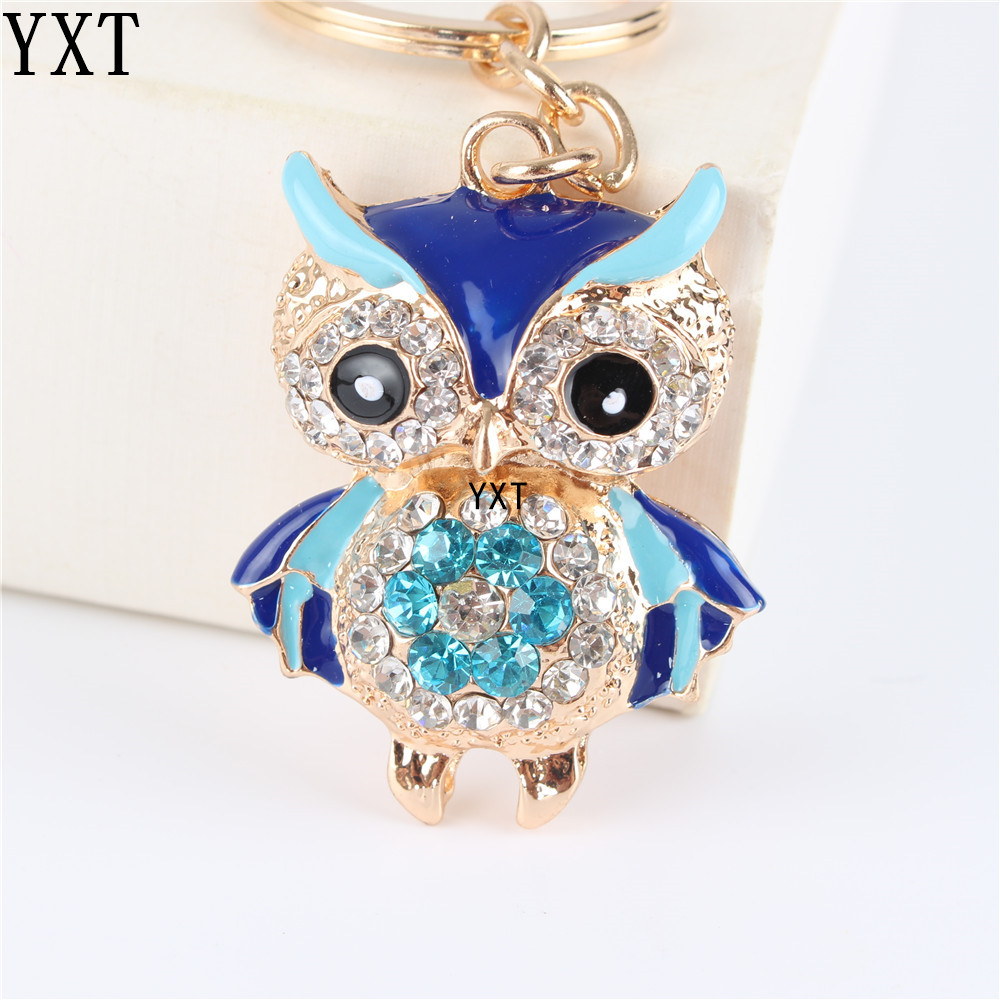 Blue Owl Bird Crystal Charm Purse Handbag Car Key Ring Chain Party Wedding Birthday Creative Gift bird patch purse