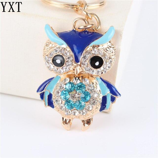 Blue Owl Bird Crystal Charm Purse Handbag Car Key Ring Chain Party Wedding Birth