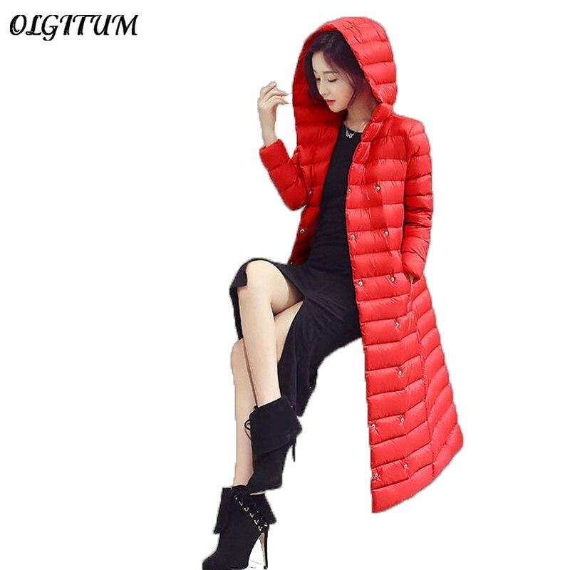 New2018 winter white duck extra long down jacket women's Ultra light weight brand coat female outerwear women winter   parkas