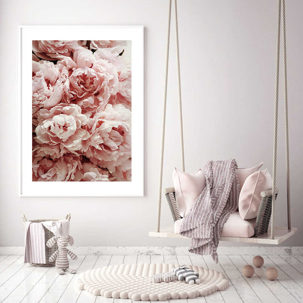 Decoration Salon Blush Pink Peony Posters and Prints Wall Art Print Canvas Painting Flower Wall Pictures For Living Room