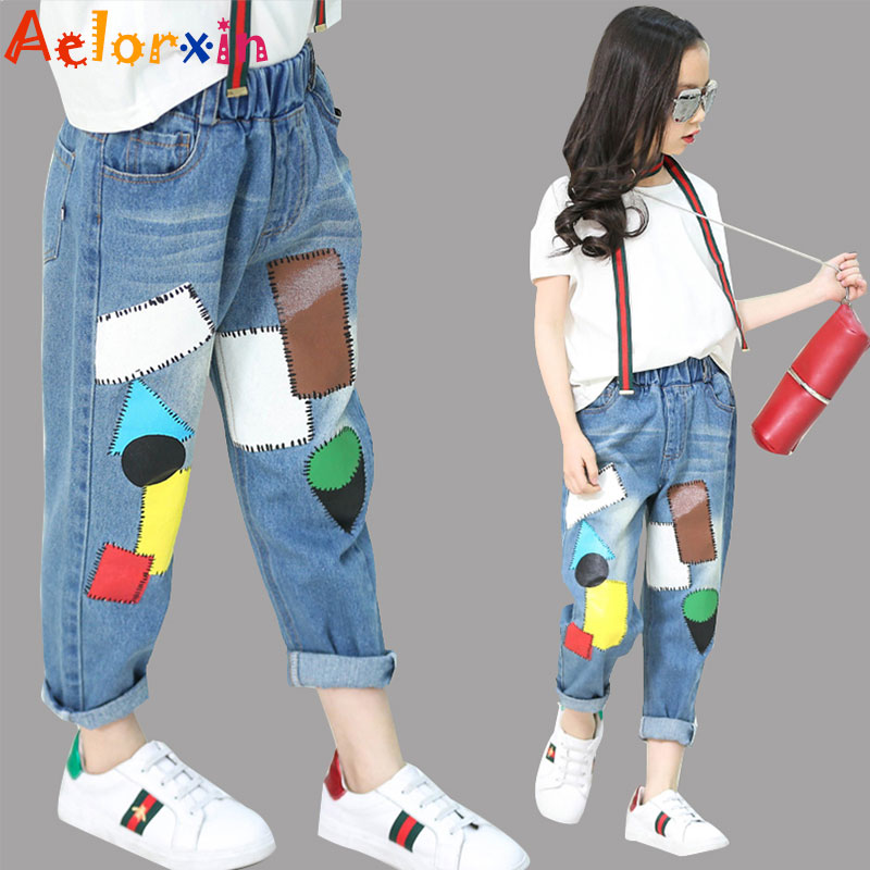 Girls Denim Pants Summer Children Jeans Pants Leggings Baby Patchwork - Children's Clothing - Photo 3