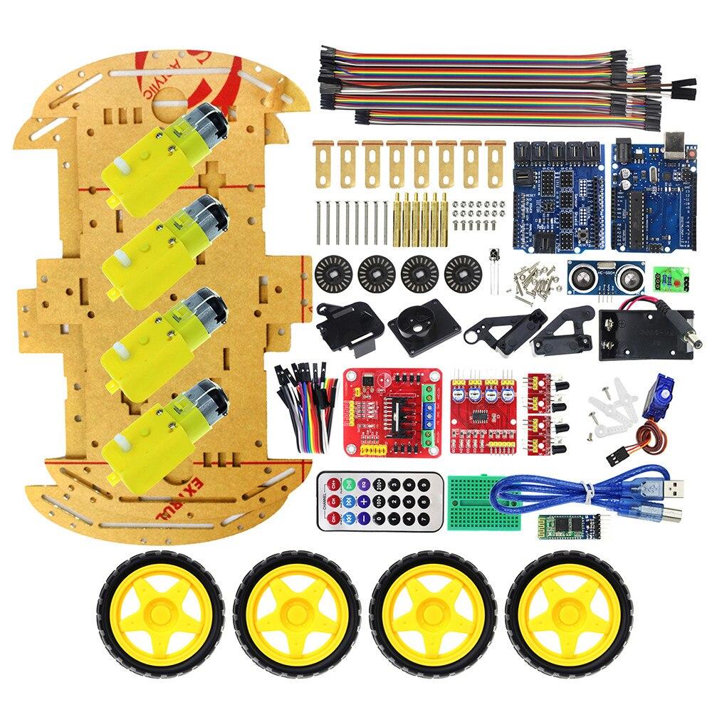 Многофункциональный Bluetooth управлять роботом салона автомобиля Наборы тонн опубликовано бесплатные коды 4WD UNO R3 Starter Kit для Arduino DIY комплект