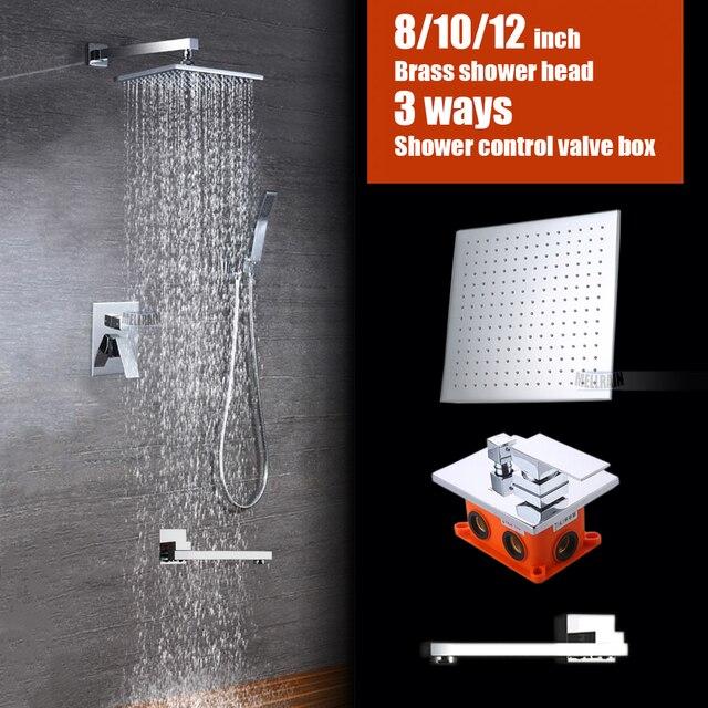 Bathroom brass wall mounted bath shower set embedded box 3 ways mixer faucet valve chrome plated 8 10 12 inch rain shower head