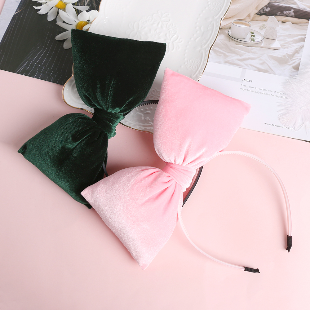 Women Fashion Velvet Big Bow Headband Hair Hoop Winter   Headwear   Christmas Party Photo props Gifts Kids Girls Hair Accessories