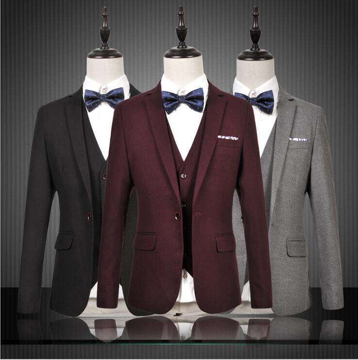2017 New Silm fit Red Black Gray Groom Tuxedos Business Suit Blazers s Wedding Suits For Men Bridegroom Jacket Pants Vest stock
