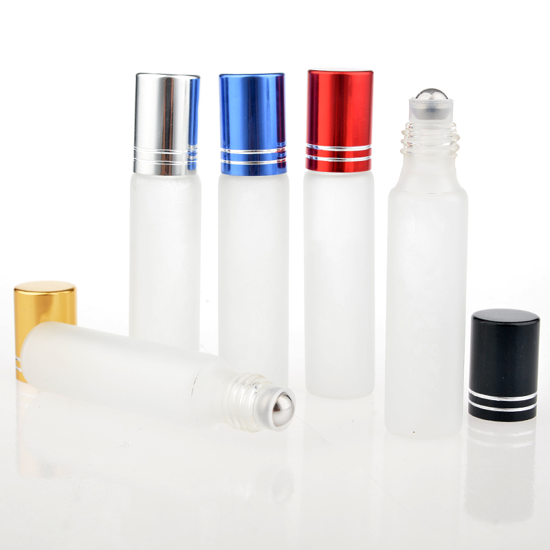 100Pieces Lot 10ML Travel Frosting Glass Roll on Perfume Bottle For Essential Oils Empty Parfum Containers