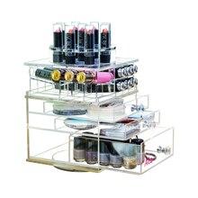 Aila Clear Acrylic Rotating Lipstick Compact Nail Polish Holder Makeup Organizer Transparent Desktop Display Stand