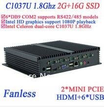 Windows embeded industrial pc with 6 COM HDMI 2 Mini PCI-E Intel Celeron C1037U 1.8Ghz 2G RAM 16G SSD