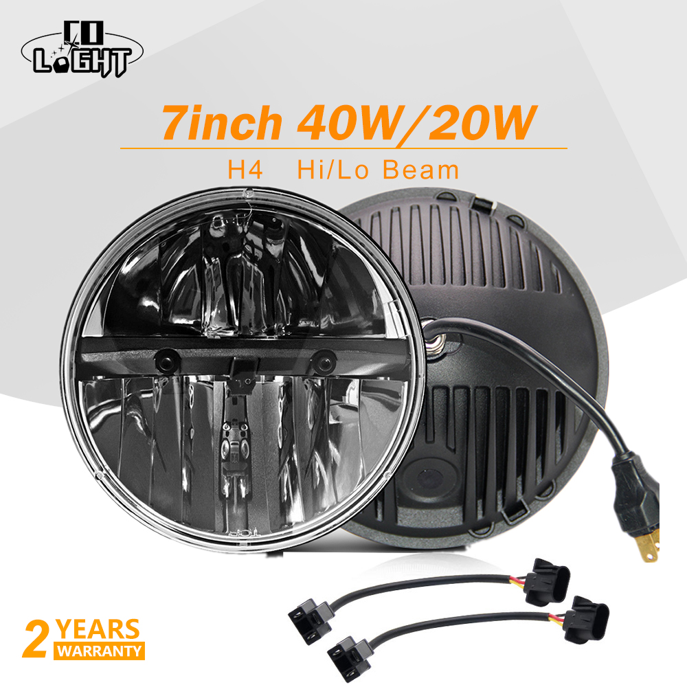 CO LIGHT Led Auto 40W Offroad Automobiles 20W H4 7'' Car Accessories 6000K 7 Inch Lights for Auto Niva 4X4 Jeep Wrangler 12V 24V co light 7 inch led headlights daytime running lights 75w angel eye hi lo led lamp for auto niva 4x4 jeep wrangler car accessory