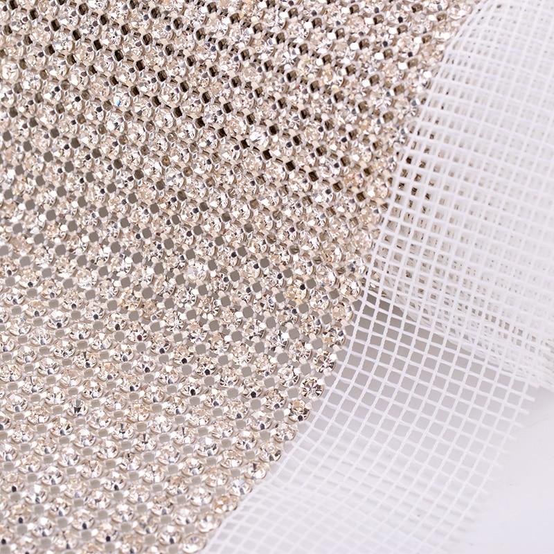 JUNAO 36 Rows*5Yard SS12 Sewing Clear Glass Rhinestone Trim Fabric Diamond Mesh Crystal Ribbon Band Strass Applique for Dress