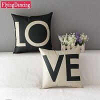 1 PC Car Throw Pillow Linen Sweet Lovers Romantic Square Cushion Decorative For Sofa 45cm 45cm