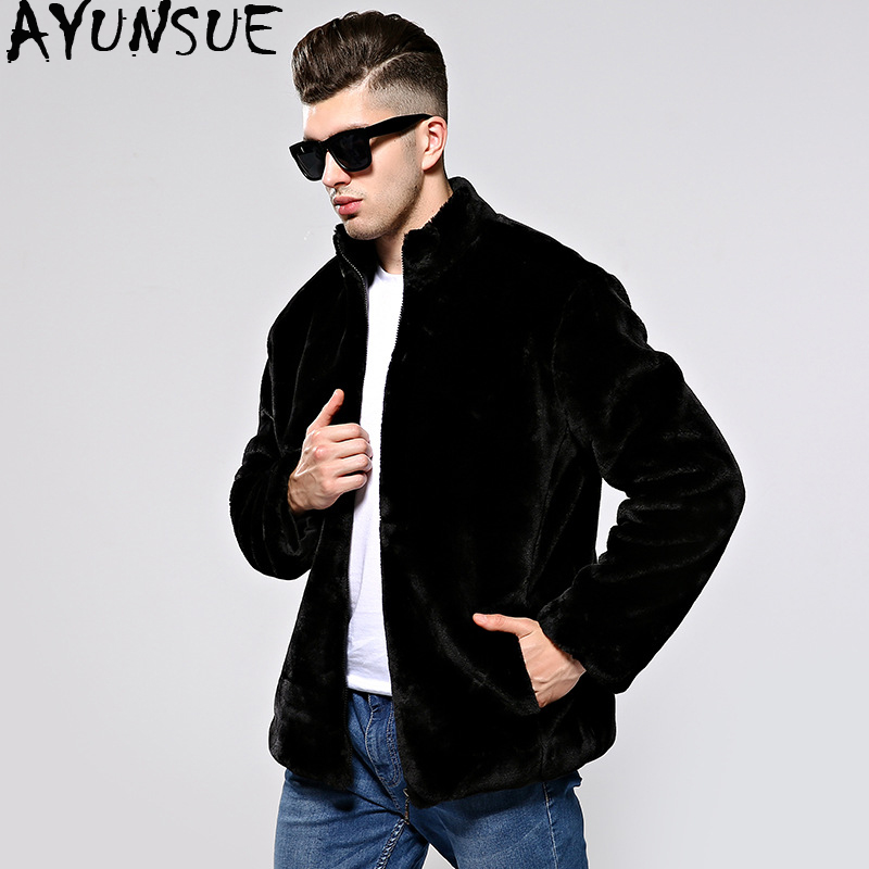 AYUNSUE Autumn Winter Coat Men Faux Fur Coat Jacket Man Imitation Mink Fur Coats Men's Clothing Overcoat Jaqueta De Couro KJ317
